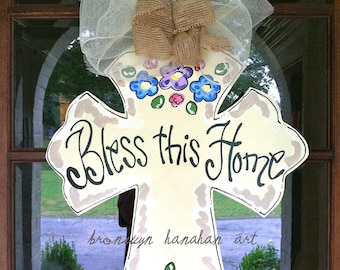 Bless this Home Cross Door Hanger - Bronwyn Hanahan Art
