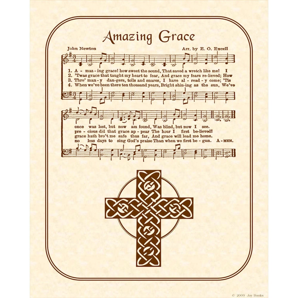 Amazing Grace: AMAZING GRACE Hymn Art Custom Christian Home Decor