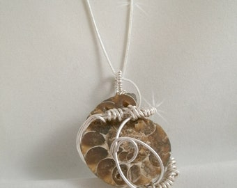 Ammonite Wire Wrapped Pendant  Necklace