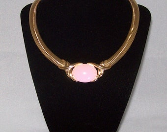 Trifari Necklace - Pink Lucite Cabochon Choker - Collectable Piece Vintage 1970s