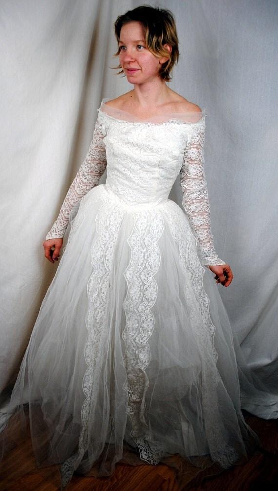 Vintage 1950s Wedding Dress Gown By Designer William Cahill