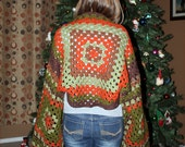 Crocheted Granny Shrug / Vintage Inspired Plus Size Sage Green, Chocolate Brown, Pumpkin Orange- Handmade One of a Kind
