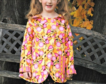 Swing Coat, Girls Reversible Jacket, Back to School clothes, Children Clothing, Girl Clothing, Fall Jacket, Pink, Yellow, Size 2T 3T 4 5 6 7