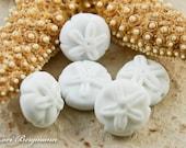 Sand Dollar Handmade Lampwork Bead, SINGLE Soft White Beach Glass, SRA Jewelry Supplies