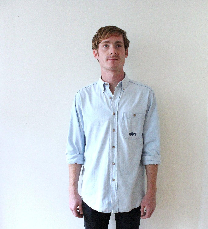 Vintage mens light denim button up fishing shirt for Jean button up shirt mens