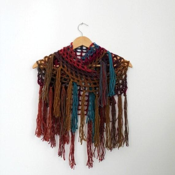 Crochet Shawl Triangle Wrap Shawl Knit Shawl Crocheted Shawls Triangle Scarves Fishnet Shawl Womens Winter Shawl Boho Fringe Shawl Scarf