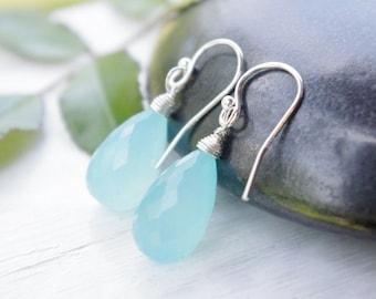 Aqua Chalcedony Earrings, Something Blue Sterling Silver Earrings, Blue Gemstone Earrings, Wire Wrapped Drop Gem Earrings, Birthday Gift