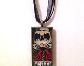 Death Tarot Card Necklace, Real Tarot Card, Hand Poured Resin Pendant - FREE SHIPPING