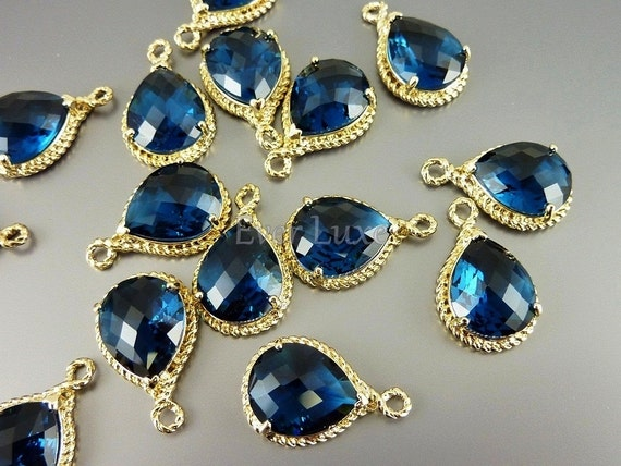 2 sapphire glass stone pendants with gold rope rim / charming pendants with gold frame 5054G-BS (bright gold, blue sapphire, 2 pieces)