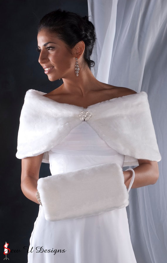 "Bride's 10"" wide winter wedding faux fur custom wrap shawl and muff set shrug & handwarmer Available in White, Diamond white, Black or Cream"