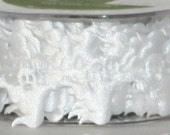 """White Satin Ghosts Ribbon by the yard, 1"""" wide, Halloween Trim, White Ghost Trim, Scrapbooking, Costumes, Crafts, Wreaths, Headbands, Sewing"""