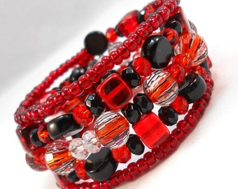 Bracelet Set, Red and Black, Beaded Bracelet Jewelry for Teens and Women Gothic Jewelry Teen Bracelet Trendy Jewely Wrap Bracelet