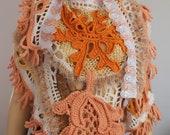 Crochet Shawl, Boho Chic, Gypsy, Lace Chunky  Freeform Crochet  Shawl / Wearable Art / OOAK
