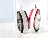 White pink purple dangle earrings // Paper jewelry