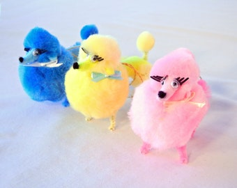 Set of 3 Pom Pom Poodle Decorations Pick 1 of 5 Colorful Groupings