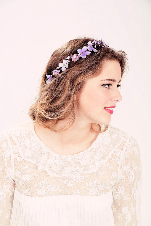 Wedding Flower Crown Suppliers : Bridal flower crown purple woodland wedding