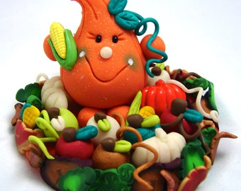 Fall Autumn HARVEST Pumpkin Parker Figurine - Polymer Clay Character StoryBook Scene - Limited Edition Sculpture