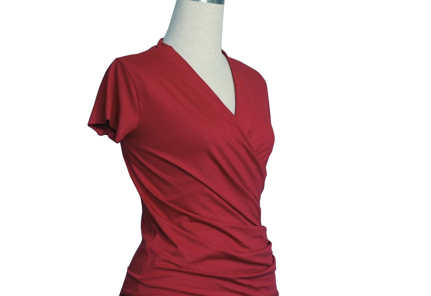 Wrap Top Red Top Summer top Short sleeve Maternity Casual