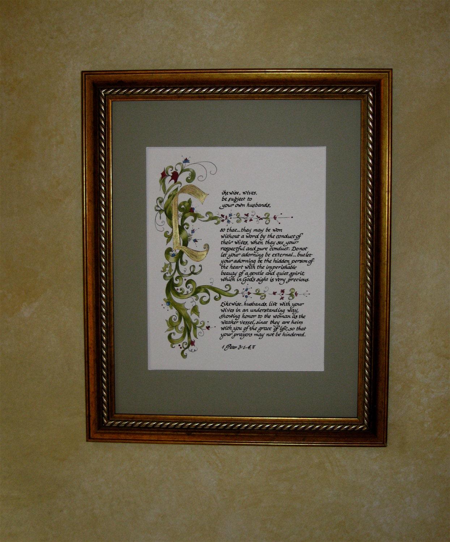 Custom Calligraphy Calligraphy Custom Bible I Peter 3 Old