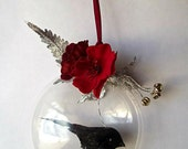 Raven Black Bird Ornament, Mixed Media Assemblage Collage, Home Decor