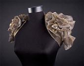 Metallic Short Sleeve Bolero Gold Silver LAST PIECE Steampunk Bolero, Gold Bolero, High shoulder Bolero
