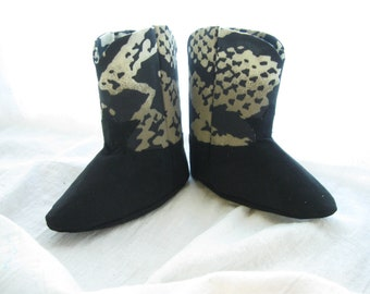 Black Snakeskin Camouflage Baby Cowboy or Cowgirl Boots A Soft Soled Baby Shoe