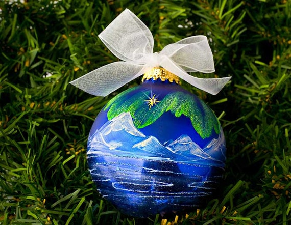 HANDPAINTED CHRISTMAS ORNAMENT- Northern Lights, mountains, sea