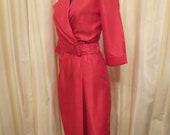 Vintage Made in Australia 70s 80s Ricki Renee Sydney Red Office Dress