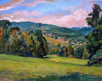 In the Valley, Berkshires. 18x24 Original Oil on Canvas, Large Plein Air Impressionist Landscape Painting, Signed Original Fine Art