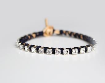 Rhinestone and Gold Leather Bracelet - Stacking Friendship Bracelet