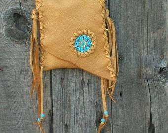 Leather phone bag , Beaded crossbody handbag , Fringed buckskin purse . Leather handbag