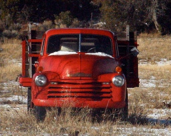Old 1953 Chevrolet Truck Art Red Christmas Pickup photograph 8x8 square giclee Man Cave art vintage Chevy pickup truck abandoned
