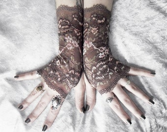 Shika Lace Fingerless Gloves - Mocha Brown Pale Pink Sage Floral Embroidered - Gothic Wedding Tribal Bellydance Goth Mori Girl Bridesmaid
