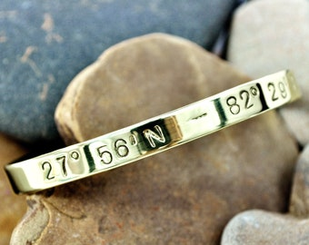 Coordinate Bracelet . TB&Co featured on Buzzfeed . Latitude and Longitude Cuff Bracelet . GPS Personalized Jewelry
