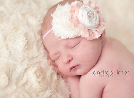Pinks and Cream- fabric ruffle and rosette with  chiffon flower headband baby bow