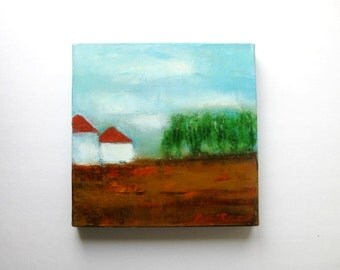 """landscape, turquoise and brown, oil on canvas painting, 12"""" x12"""", Country  Landscape, oil on canvas"""