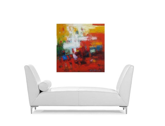Red Vibrant Abstract original oil painting on canvas ~ large modern art ~ contemporary fine art~ gift for husband, wife, fiance, brother
