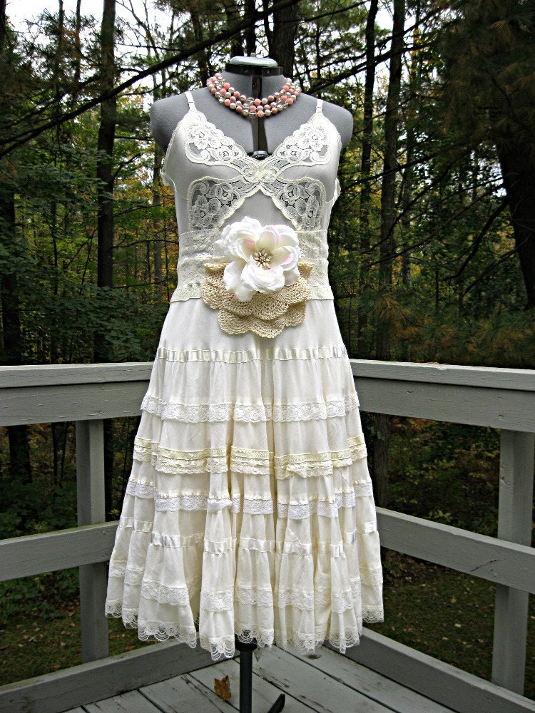 Cream Vintage Slip Wedding Dress Short 38 Bust Boho Wedding