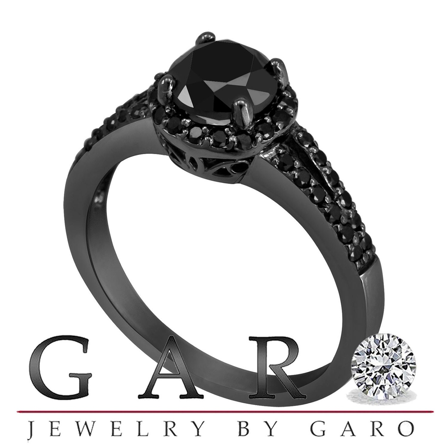 All Black Wedding Rings Find This Pin And More On Bisutera Etoile Square  Solitaire Canadian Diamond