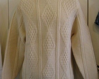 Vintage 1960's Irish Wool Classic Fisherman Sweater size Large Kilkenny
