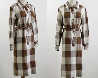 Vintage Buffalo Plaid Dress, 70s Shirtdress, Brown and White Plaid Dress, Checked Dress, Long Sleeve Dress, Bust 44 Extra Large XL