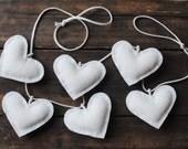 Renewable Wool Heart Bunting - Wedding Table Decoration - White Rustic Celebration