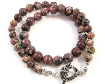 Leopard Jasper Necklace, Men's Small Choker, Rustic Brown Beads, Reddish Brown Jasper Beads, Antique Silver Clasp, Women's Necklace, SRAJD