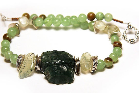 Boho Necklace, Tribal Necklace, Green Garnet Necklace, Bold Necklace,  Imperial Jade Necklace, Green AgateNecklace, Sterling Silver