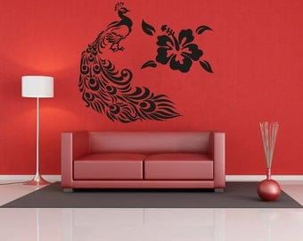 Vinyl Wall Decal Sticker Peacock and Hawaiian Flower OSAA281B