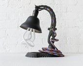 10% SALE - The Rainbow Garden of Live Light Flowers - Antique Cast Iron Table Lamp w/  Rainbow Color Cord OOAK