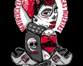Rockabilly Pin Up - Archival  print  Tattoo Flash  Day of the Dead Girl Biker Hotrod Outlaw Motorcycle  Print Sugar Skull
