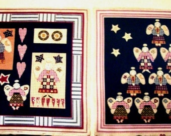 Folk Art Print Angels Fabric Quilting Square Panels Craft Supplies for Sewing Gift Ideas