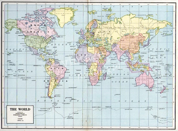 world map 1948 antique atlas map school map by