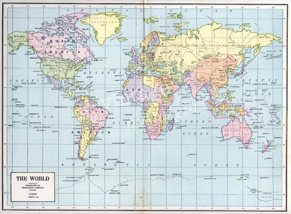 Atlas Maps of The World World Map 1948 Antique Atlas